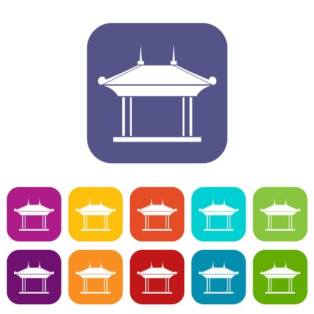 Pagoda icons set vector illustration in flat style in colors red, blue, green, and other Illustration