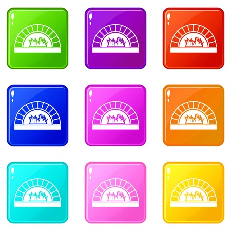 Pizza oven with fire icons of 9 color set isolated vector illustration