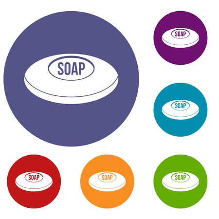Soap icons set in flat circle red, blue and green color for web Illustration