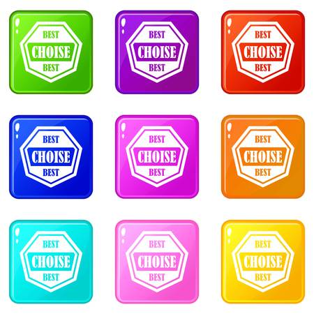 polished: Best choise label icons of 9 color set isolated vector illustration