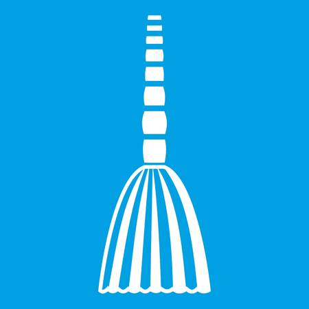 Broom floor icon white isolated on blue background vector illustration