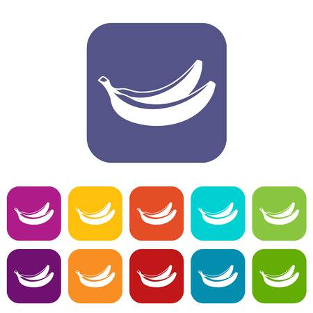 Banana icons set vector illustration in flat style in colors red, blue, green, and other