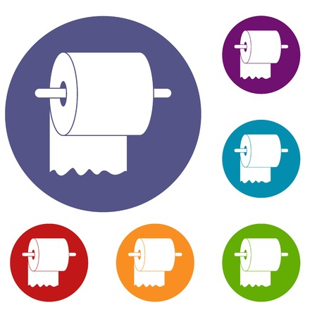 Roll of toilet paper on holder icons set in flat circle red, blue and green color for web Illustration