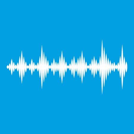 Musikschallwellen-Ikonenweiß lokalisiert auf blauer Hintergrundvektorillustration