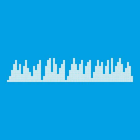 soundwave: Audio digital equalizer technology icon white isolated on blue background vector illustration