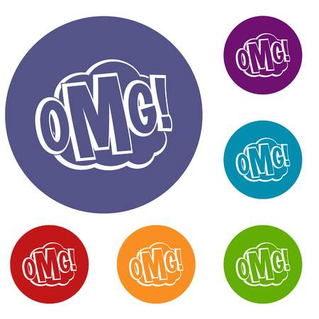 cartoon bomb: OMG, comic text speech bubble icons set in flat circle red, blue and green color for web Illustration