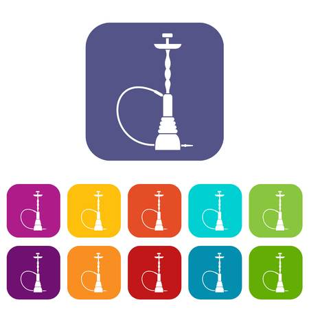 inhalation: Hookah icons set vector illustration in flat style in colors red, blue, green, and other