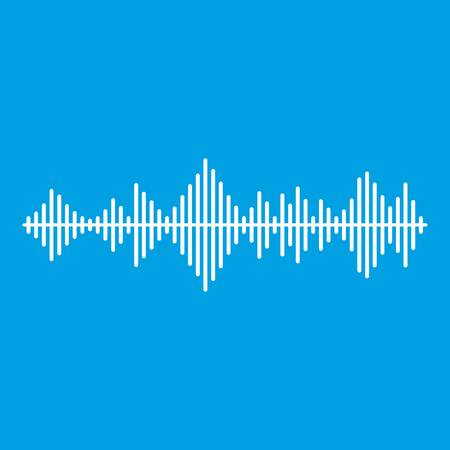 soundwave: Musical pulse icon white isolated on blue background vector illustration