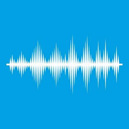 soundtrack: Audio digital equalizer technology icon white isolated on blue background vector illustration