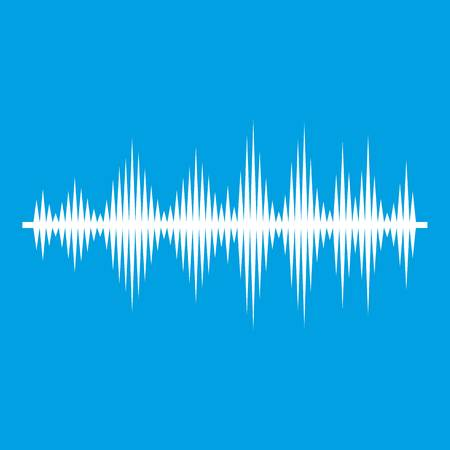 Audio digital equalizer technology icon white isolated on blue background vector illustration