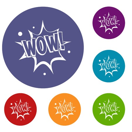 WOW, explosion effect icons set in flat circle red, blue and green color for web
