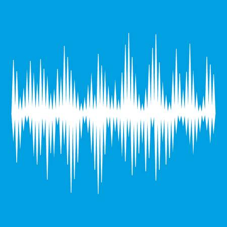 Audio digital equalizer technology icon white isolated on blue background vector illustration