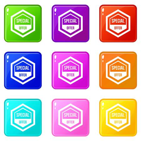 polished: Special offer pentagon icons of 9 color set isolated vector illustration