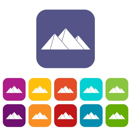 Pyramids icons set vector illustration in flat style in colors red, blue, green, and other