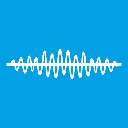 soundwave: Sound wave icon white isolated on blue background vector illustration