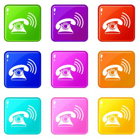 appliances: Retro phone icons of 9 color set isolated vector illustration Illustration