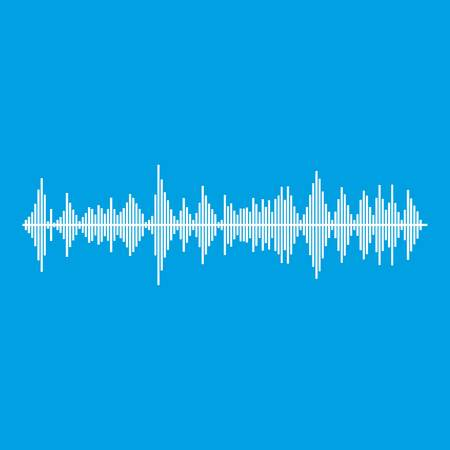 soundtrack: Musical pulse icon white isolated on blue background vector illustration