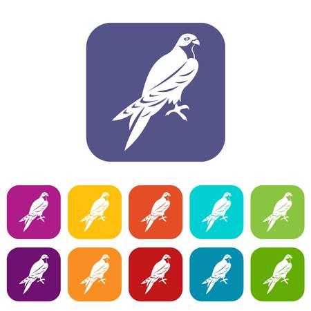 Falcon-pictogrammen instellen vectorillustratie in vlakke stijl in de kleuren rood, blauw, groen en andere Stock Illustratie
