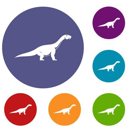 Titanosaurus dinosaur icons set in flat circle red, blue and green color for web