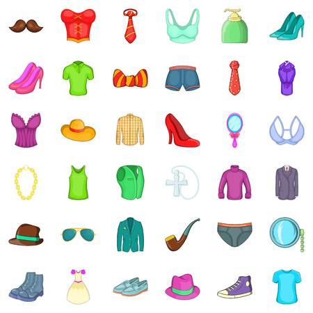 Clothes and shoes icons set. Cartoon style of 36 clothes and shoes vector icons for web isolated on white background