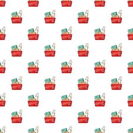 Basket of shopping bags pattern seamless repeat in cartoon style vector illustration Illustration
