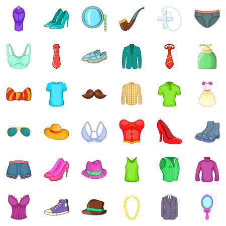 Different clothes icons set. Cartoon style of 36 different clothes vector icons for web isolated on white background