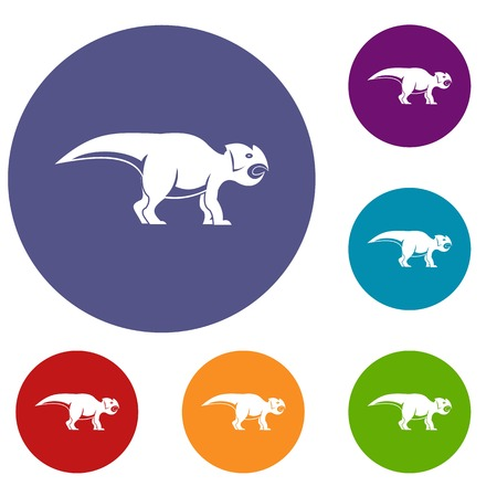 Ceratopsians dinosaur icons set in flat circle red, blue and green color for web Illusztráció
