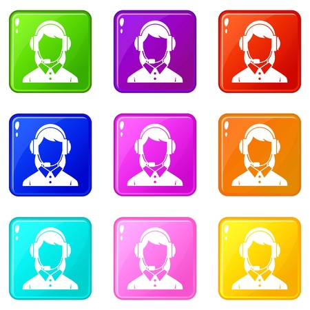 customer service representative: Business woman with headset icons of 9 color set isolated vector illustration Illustration