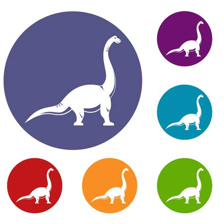 Brachiosaurus dinosaur icons set in flat circle red, blue and green color for web Illustration