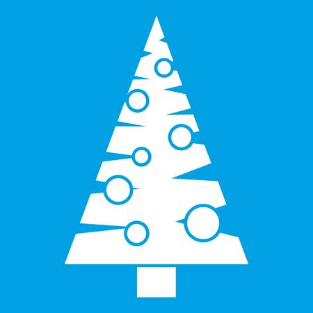 bark: Christmas tree icon white isolated on blue background vector illustration