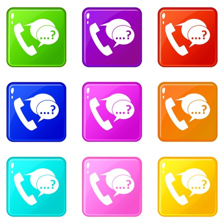 Phone sign and support speech bubbles sign icons of 9 color set isolated vector illustration
