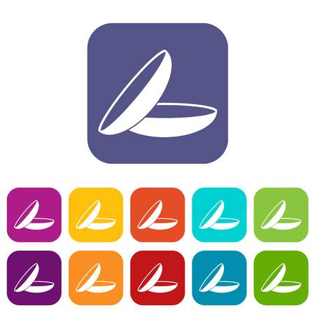 Contact lenses icons set