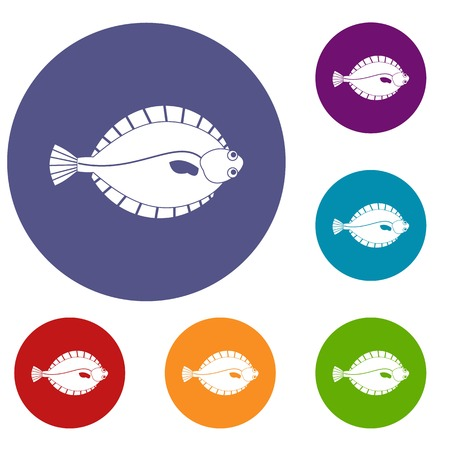 Flounder icons set Illustration