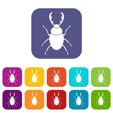 Stag beetle icons set