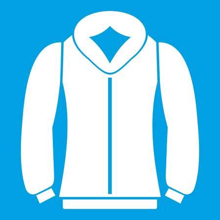 Sweatshirt icon white isolated on blue background vector illustration