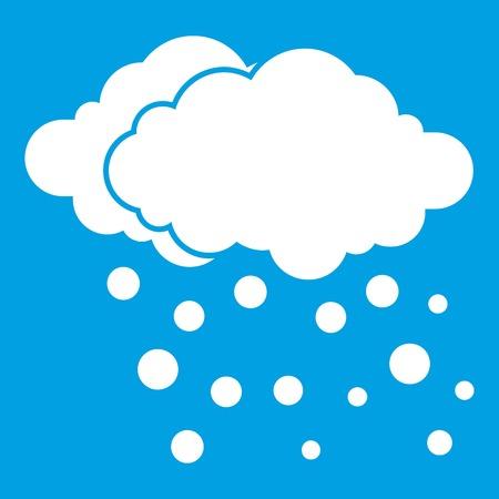 Wolk en sneeuwpictogramwit op blauwe vectorillustratie wordt geïsoleerd die als achtergrond