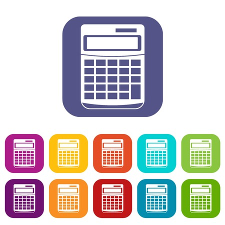 display: Calculator icons set vector illustration in flat style in colors red, blue, green, and other Illustration
