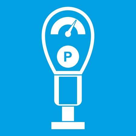 Parkplatz Meter Symbol Weiß Auf Blauem Hintergrund Isoliert Vektor ...