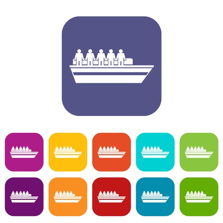drill: People on ship icons set vector illustration in flat style in colors red, blue, green, and other