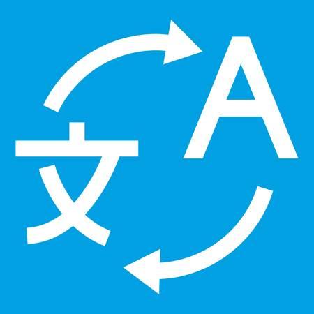 Vertalerend pictogramwit op blauwe vectorillustratie wordt geïsoleerd die als achtergrond