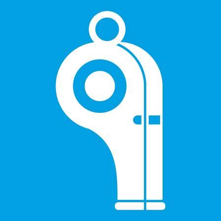 soccer goal: Sport whistle icon white isolated on blue background vector illustration