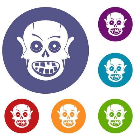 Living dead icons set in flat circle red, blue and green color for web Illustration
