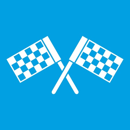 Crossed chequered flags icon white isolated on blue background vector illustration