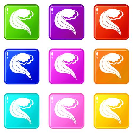 flowing water: Ocean or sea wave icons of 9 color set isolated vector illustration