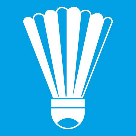 Shuttlecock icon white isolated on blue background vector illustration Illustration