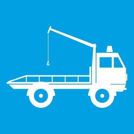 evacuating: Car towing truck icon white isolated on blue background vector illustration