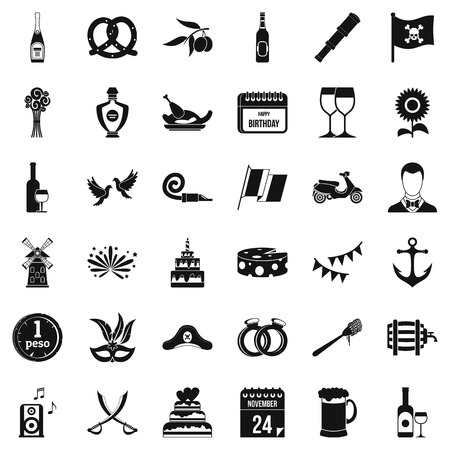 Happy birthday icons set, simple style