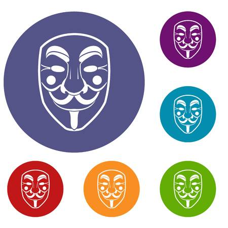 fawkes: Vendetta mask icons set in flat circle red, blue and green color for web