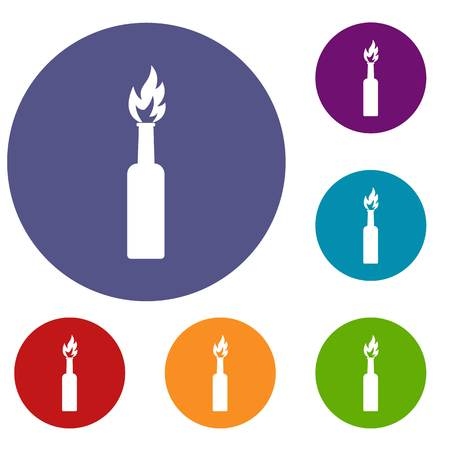Burning bottle icons set in flat circle red, blue and green color for web