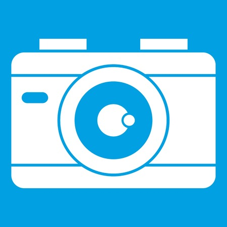 Photo camera icon white isolated on blue background vector illustration